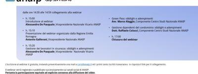 """Webinar- Green Pass Obbligatorio """"ANAIP Nel Territorio – Emilia Romagna -"""" 27 Ottobre 2021"""