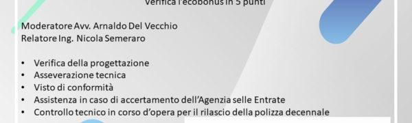 WEBINAR – VERIFICA L'ECOBONUS IN 5 PUNTI
